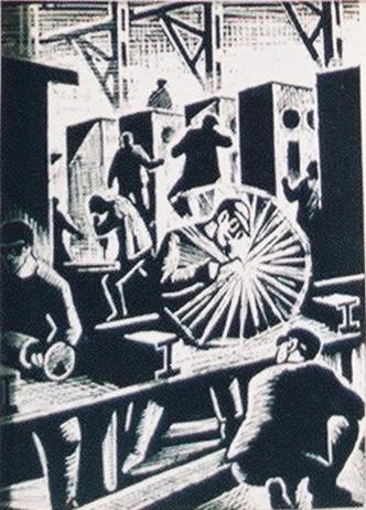 Ohne Titel, 1960, Aus Koch's Serie, Arbeitsleben in einem Produktionsbetrieb